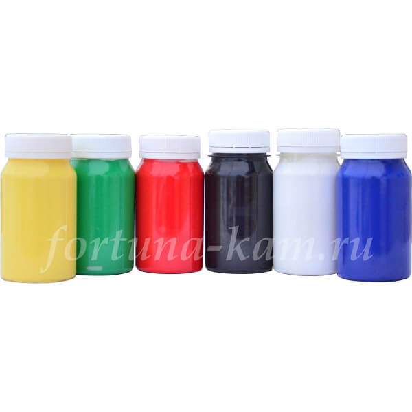Краски акриловые матовые, набор 6 шт. по 100 мл.