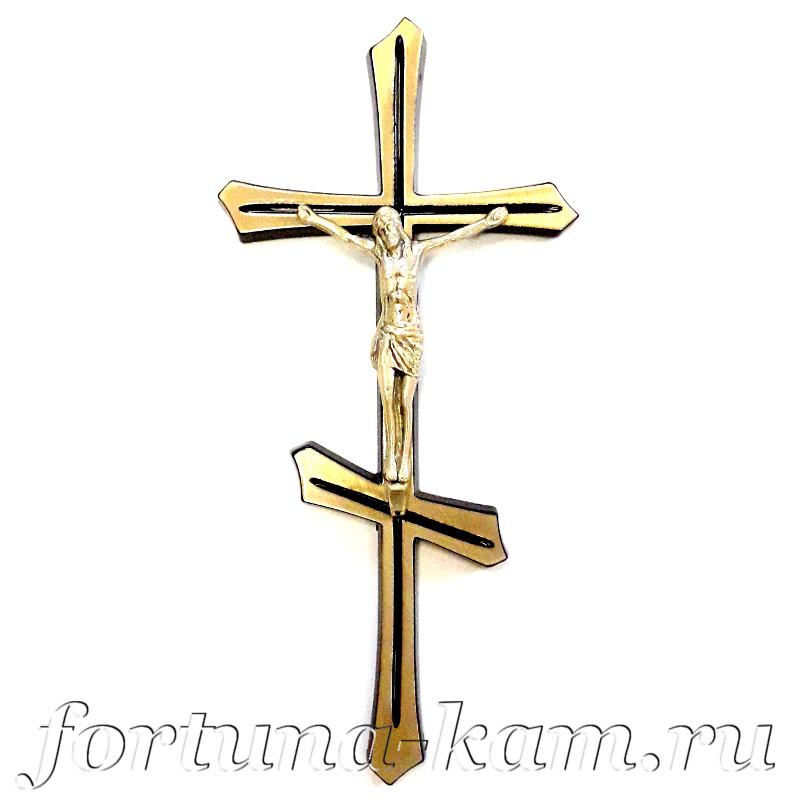 Латунный православный крест с распятием, 25 см. №10398