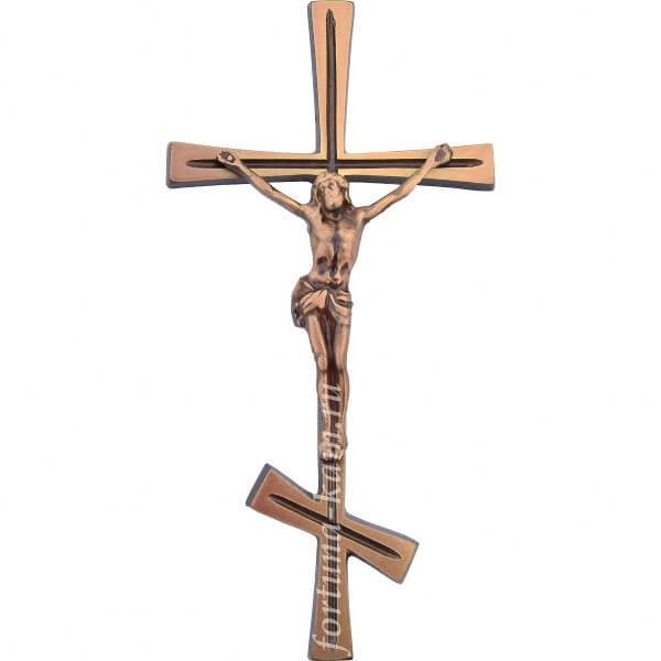 """Латунный православный крест с распятием """"под бронзу"""", 25 см. №10397"""